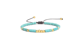 Friendship Bracelet Handwoven Turquoise and Gold - $24.38 with FREE Shipping!