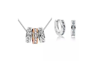 Milan Necklace and Huggie Earring Set 18K White Gold ,Rose Gold Plated - $25.50 with FREE Shipping!